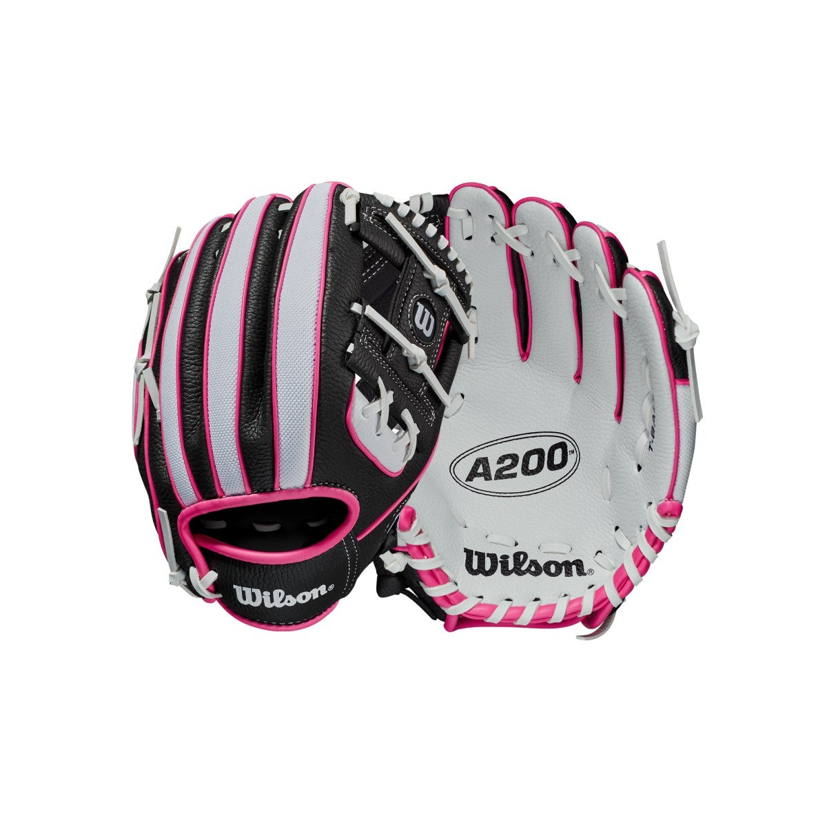 """Wilson A200 10/"""" Youth Baseball Glove White//Royal//Red WBW10020610"""